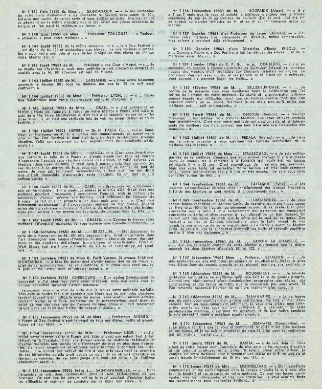 Temoignage 1955 Divers Professeurs Méthode MENTOR