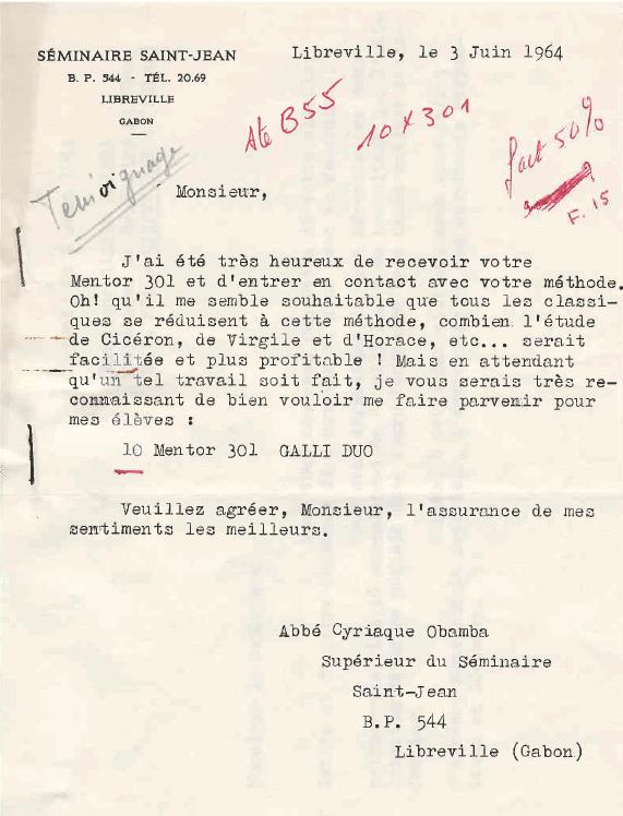 Temoignage 1964 Seminaire Saint Jean Libreville sur la Méthode MENTOR d'apprentissage du latin